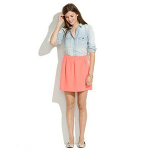 Madewell Coral Pleated Skater Skirt